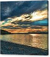 Sunset On Rocky Beach Canvas Print