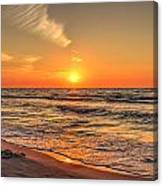 Sunset On The Baltic Sea Beach Of Leba In Poland Canvas Print