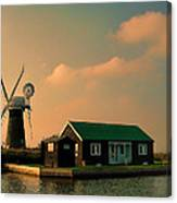 Sunset On The Broads Canvas Print