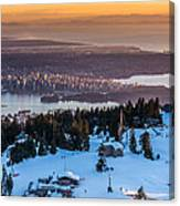 Sunset On The City Of Vancouver Canvas Print