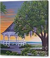 Sunset On The Gazeebo Canvas Print