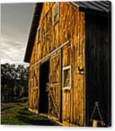 Sunset On The Horse Barn Canvas Print