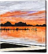 Sunset On The Lake By Lucia Van Hemert Canvas Print