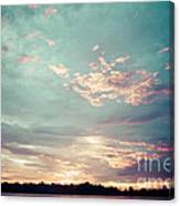 Sunset On The River In The Peruvian Amazon Jungle Canvas Print