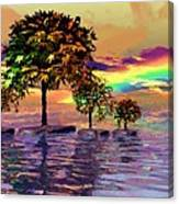 Sunset On Trees And Ocean Canvas Print