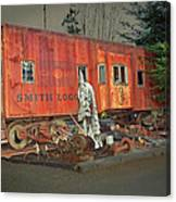 Sunset On Vintage Rustic Caboose Canvas Print