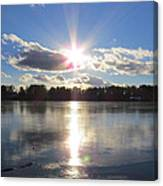 Sunset Ove A Frozen Pond Canvas Print