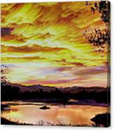 Sunset Over A Country Pond Canvas Print