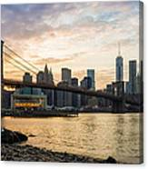 Sunset Over Brooklyn Bridge Canvas Print