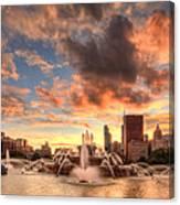 Sunset Over Buckingham Fountain Canvas Print