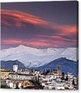 Sunset Over Granada And The Alhambra Castle Canvas Print