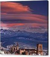 Sunset Over Granada And The Cathedral Canvas Print