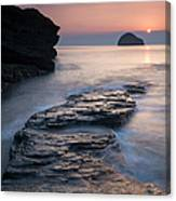 Sunset Over Gull Rock From Trebarwith Canvas Print