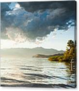 Sunset Over Lake Maggiore In Italy Canvas Print
