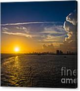 Sunset Over Miami From Out At Sea Canvas Print