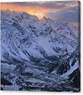 Sunset Over Mueller Glacier Lake Canvas Print