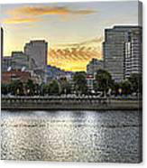 Sunset Over Portland Downtown Skyline Canvas Print