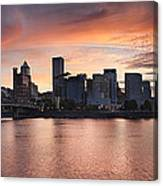 Sunset Over Portland Oregon Waterfront Panorama Canvas Print