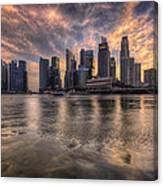 Sunset Over Singapore Skyline Canvas Print