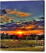 Sunset Over The Hay Field Canvas Print