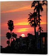 Sunset Over The Homes Of Newport Beach Canvas Print