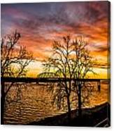 Sunset Over The Mississippi River Canvas Print