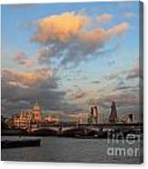 Sunset Over The River Thames London Canvas Print