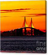 Sunset Over The Skyway Bridge Crop Canvas Print