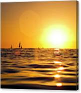 Sunset Over The Water In Waikiki Canvas Print