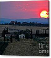 Sunset Over Tuscany In Italy Canvas Print