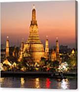 Sunset Over Wat Arun Temple - Bangkok Canvas Print