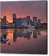 Sunset Over Willamette River Along Portland Waterfront Canvas Print