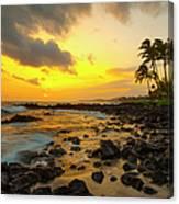 Sunset, Poipu, Kauai, Hawaii, Usa Canvas Print