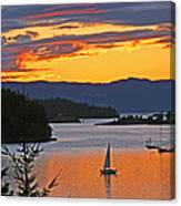 Sunset Sail In The Bay Canvas Print