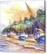 Sunset Sail On Brittany Beach  Canvas Print