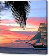 Sunset Sailboat Filtered Canvas Print