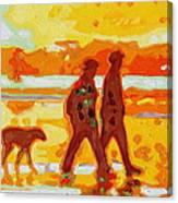 Sunset Silhouette Carmel Beach With Dog Canvas Print