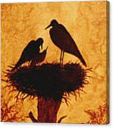 Sunset Stork Family Silhouettes Canvas Print