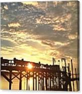 Sunset Through Pier Canvas Print