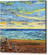 Sunset Volleyball At Old Silver Beach Canvas Print
