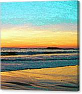 Sunset With Birds Canvas Print