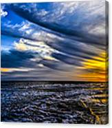 Sunset With Blue Sky Canvas Print