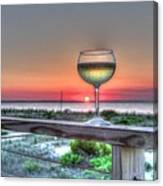 Sunset With Wine Glass Canvas Print
