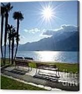 Sunshine Over A Lake Front Canvas Print