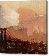 Sunsrise Over Brooklyn Bridge Canvas Print