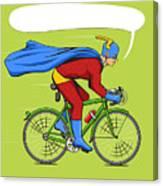 Superhero On A Bicycle Cartoon Pop Art Canvas Print