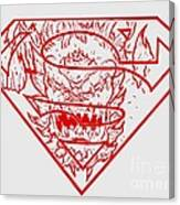 Superman And Doomsday Red Canvas Print