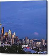 Supermoon Moonrise Over Seattle Skyline Canvas Print