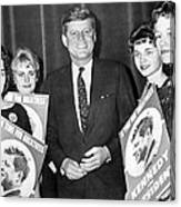 Supporters Greet Kennedy Canvas Print