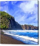 Surf At Pololu Valley Big Island Canvas Print